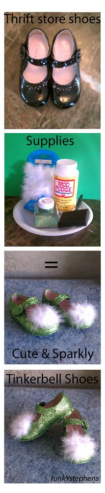 Easy DIY Tinkerbell shoes...could do this with any color glitter to go with any costume!