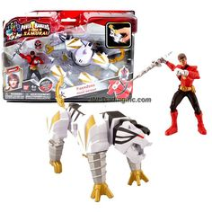 """Bandai Year 2012 Power Rangers Samurai Series Action Figure Zord Set - TIGER ZORD with 4 Inch Tall Fire Red Mega Ranger """"Jayden"""" and Removable Mask"""