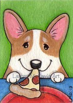 Pembroke Welsh Corgi Dog Pizza ATC ACEO For SALE Lauren M. Davis Art Painting