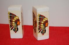 Vintage Indian Salt and Pepper Shakers, Square, Ceramic Shaker Set, Native American Indian