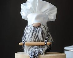 Kitchen Gnome -Baker Gnome with rolling pin , Kitchen Decoration , Mothers Day Gift , Nordic Gnome by NORDIKatja , Handmade in Brooklyn, NY