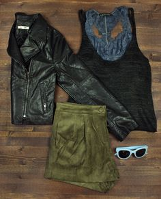 cropped leather jacket + lace bralette + knit tank + suede shorts + travel + packing light + capsule wardrobe + flat lay + fall fashion + style