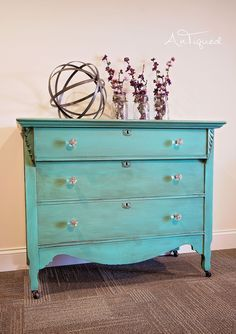 Aqua Chalk Painted Antique Dresser. Great pop of color