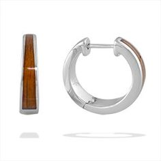 Sterling Silver Huggie Hoop Earrings with Koa Wood* Inlay - New From Na Hoku - Shop