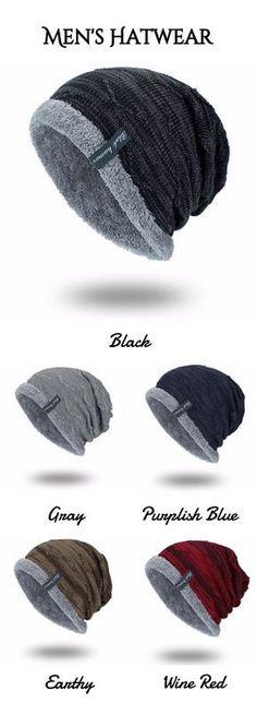 23554a998de Knitting Velvet Lining Beanie Hat Mens Beanie Hats