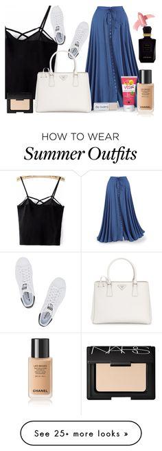 """Simple SUMMER Outfit"" by karen112200 on Polyvore featuring adidas Originals, Prada, NARS Cosmetics, Elizabeth Arden and Keiko Mecheri"