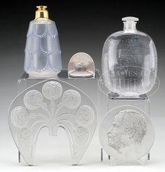 FIVE R. LALIQUE GLASS ITEMS.
