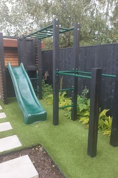 Have fun and keep active with this bespoke stylish outdoor play gym for kids and grown ups too Backyard Jungle Gym, Backyard Playground, Backyard For Kids, Outdoor Play Gym, Outdoor Play Spaces, Outdoor Games, Kids Garden Swing, Playground Design, Kids Play Area