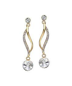 1b345b09e Goldtone Swirl Drop Earrings With Swarovski® Crystals #zulily #zulilyfinds Crystal  Earrings, Crystal