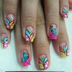 Luv Nails, Fancy Nails, Pretty Nails, Pink Nails, Natural Nail Designs, Colorful Nail Designs, Nail Art Designs, Green Nail Art, Green Nails