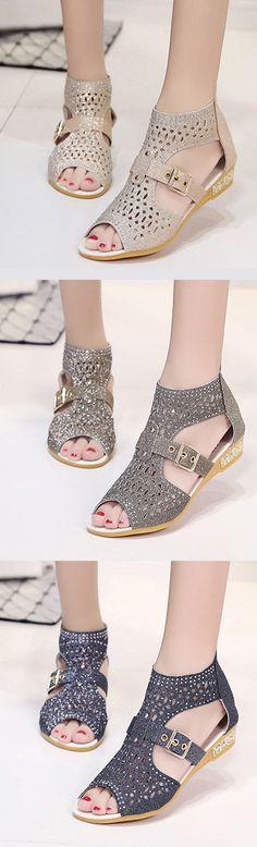 US$18.02 Peep Toe Hollow Out Wedges Zipper Roman Sandals_Summer Fashion Sandals_Dating outfits Sandals_Womens Flats Sandals