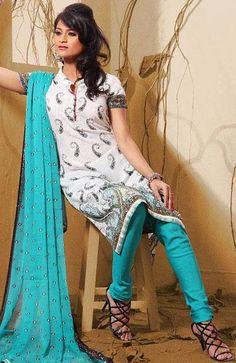 $32.15 White and Blue Cotton Churidar Salwar Suit 25184