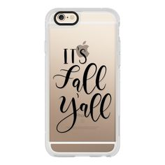 Its Fall Yall- Black Transparent - iPhone 7 Case, iPhone 7 Plus Case,... (130 BRL) ❤ liked on Polyvore featuring accessories, tech accessories, phone cases, phone, cases, iphone case, transparent iphone case, iphone cover case, iphone hard case and iphone cases