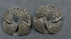 Vintage Judith Jack Sterling Silver Marcasite Pierced Earrings Signed JJ 182   eBay