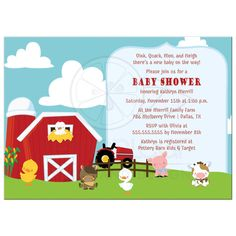 On the farm country barn animals baby shower invitations, so cute for a girl baby shower or a boy baby shower! Baby Shower Favors Girl, Baby Girl Shower Themes, Baby Shower Diapers, Baby Shower Parties, Baby Boy Shower, Baby Shower Invitations, Farmer Baby, Barn Animals, Simple Baby Shower