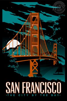 San Francisco Golden Gate Bridge nuit série Retro Vintage écran affiche imprimée