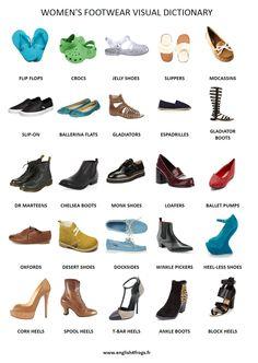 #English 4 Frogs: Fiche de #vocabulaire n°18: Les #chaussures #femmes (Partie 1) #anglais #shoes
