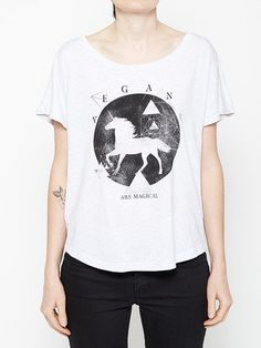 You could say there's a certain mysticism attached to vegans. We save animals, the environment and our health. Sounds pretty magical to me. - Women's Tri-Blend Dolman tee - Off the shoulder look, runs
