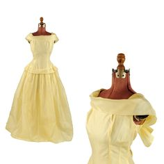 Vintage 1950's Yellow Shimmer Sheer Organza Belle Prom Evening Cocktail Full Skirt Party Dress L