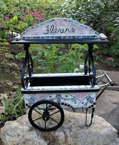 Image detail for -Mosaic French Flower Cart Planter by reecreationmosaics on Etsy
