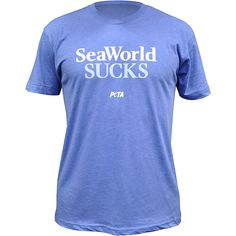 Why not call a spade a spade? If you think it's wrong to take orcas, dolphins, and other marine animals from the ocean, confine them to tiny tanks, and make money off of their misery, then this T-shirt is for you. Spread the message to your friends and family that SeaWorld SUCKS with this bold graphic t-shirt from The PETA Catalog.