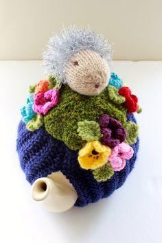 Grandma Bessie the Hedgehog picnicking in the garden - Tea Cosy in Pure Merino Wool - Size Medium - by Tafferty Designs. Visit my Etsy shop https://www.etsy.com/uk/listing/456964896/grandma-bessie-the-hedgehog-picnicking