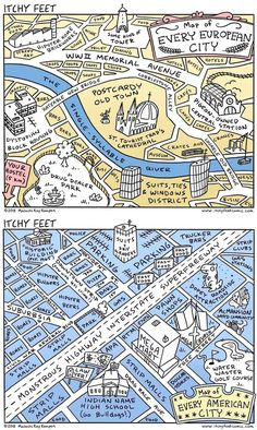 Every European city vs every American (USA) city. Satirical but not that far from truth. Usa Cities, Satire, Anatomy, Jokes, History, American, City, Funny, Travel