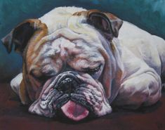 English Bulldog art print canvas print of LA by TheDogLover, $39.99