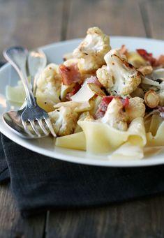 cauliflower, bacon and chili pasta