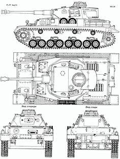 Panzer IV Blueprint - Download free blueprint for 3D modeling | Kettenfahrzeug, Militär, Detailzeichnung