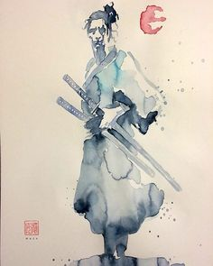 Watercolor. Cover painting to Samurai.