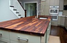 Custom Walnut Butcher Block Counter - contemporary - kitchen countertops - atlanta - by WoodologyLLC Outdoor Kitchen Countertops, Kitchen Countertop Materials, Wood Countertops, Custom Countertops, Diy Butcher Block Countertops, Butcher Block Countertops Kitchen, Walnut Countertop, Countertop Options, Countertop Decor