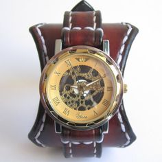 Steampunk Leather Watch Men's Leather Cuff by loversbracelets