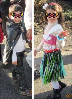 Passo a passo de Fatos de Drácula e Havaiana, feitos com sacos de plástico. Artesanato e Reciclagem. Carnaval e Halloween