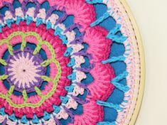 Crocheted Mandala Wall Art - Framed Crochet Mandala - Crochet Mandala 10 ins diameter