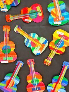 Zilker Elementary Art Class: Zilker& 2014 School-wide Student Art Show - Alphabet Crafts - Zilker Elementary Art Class: Zilker& 2014 School-wide Student Art Show - Kids Crafts, Projects For Kids, Art Projects, Arts And Crafts, Instrument Craft, Music Instruments, Guitar Crafts, Guitar Art, Classe D'art