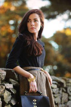 [J.Crew shirt + J.Crew skirt] [Tory Burch belt] [Loren Hope earrings] [Kate Spade bracelet] [Mulberry bag] // 3 Oct 2012