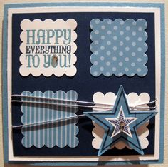 Like the twine around the square and the postage stamp squares. Make whole card 4 1/4 to fit in reg envelope.  Good colors for boys but easy to frill up!