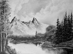 A graphite drawing done by me. size : x Graphite Drawings, Size 16, Original Art, Mountains, Gallery, Nature, Travel, Naturaleza, Viajes