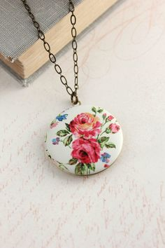 Floral Locket Necklace Pink Red Flower Photo by apocketofposies