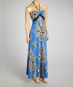This Blue Status Lace Halter Maxi Dress by Fantazia is perfect! #zulilyfinds