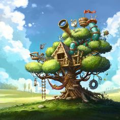 Best Tree House ever :), Tomek Larek on ArtStation at https://www.artstation.com/artwork/2OEGJ