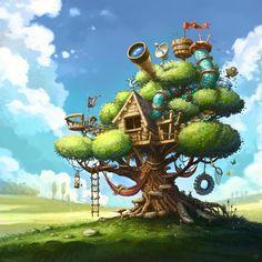 Best Tree House ever :), Tomek Larek on ArtStation at https://www.artstation.com/artwork/2OEGJ