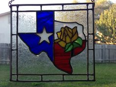 Stained glass Texas with Yellow Rose by Beth Hanging Stained Glass, Faux Stained Glass, Stained Glass Designs, Stained Glass Patterns, Stained Glass Windows, Window Glass, Texas Star, Country Paintings, Yellow Roses