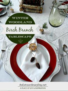 Birch Branch Winter Woodland Tablescape :: AnExtraordinaryDay.net