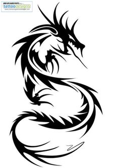 Higher Resolution Tribal Dragon Tattoo