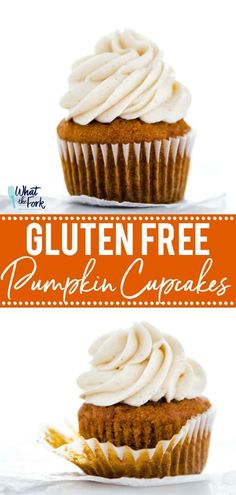 Easy to make Gluten Free Pumpkin Cupcakes that are topped with Cinnamon Cream Cheese Frosting. These simple cupcakes are the perfect fall dessert! Keto Cupcakes, Pumpkin Cupcakes, Pumpkin Dessert, Cupcake Recipes, Cupcake Cakes, Dessert Recipes, Simple Cupcakes, Banana Cupcakes, Gluten Free Pumpkin Pie