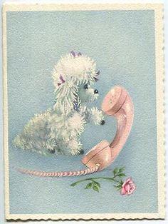 Vintage Girl White Poodle Pink Telephone Rose Flower Blue Colors Art Card Print