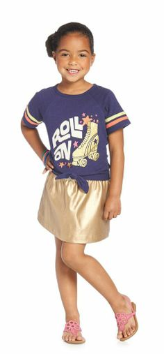 DISCO SHINE OUTFIT Short sleeve tie tee. Roll On graphic with sugar glitter skate, colorful stars. Shiny gold faux leather skirt for play all day fun.