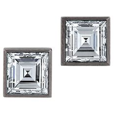 Square Diamond Gold Earrings   From a unique collection of vintage stud earrings at https://www.1stdibs.com/jewelry/earrings/stud-earrings/